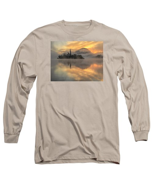Lake Bled Sunrise Slovenia Long Sleeve T-Shirt