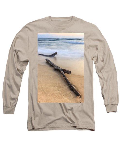 Long Sleeve T-Shirt featuring the photograph Lake Michigan Beach Driftwood by Adam Romanowicz