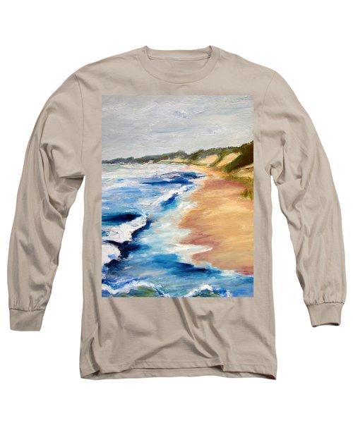 Lake Michigan Beach With Whitecaps Detail Long Sleeve T-Shirt