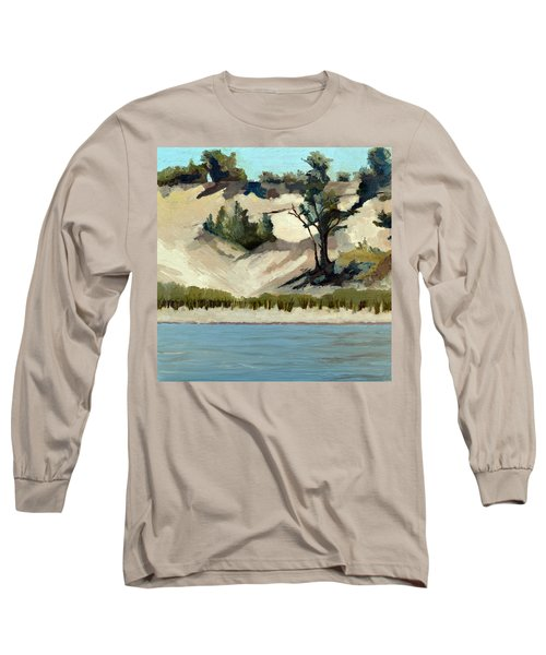 Long Sleeve T-Shirt featuring the painting Lake Michigan Dune With Trees And Beach Grass by Michelle Calkins