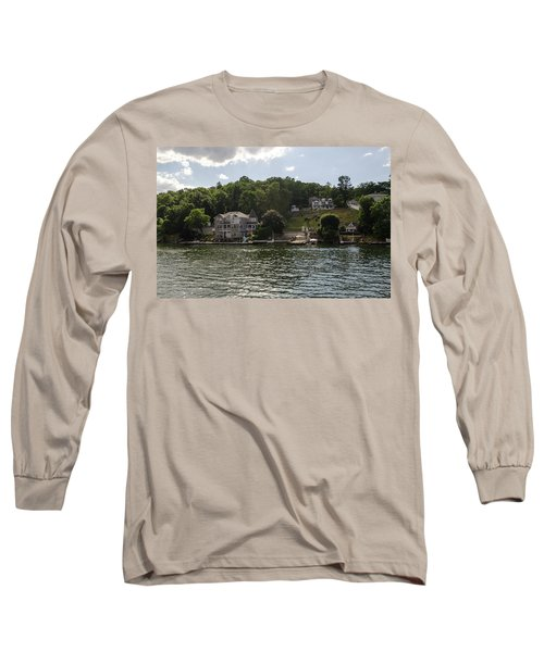 Long Sleeve T-Shirt featuring the photograph Lakeside Living Hopatcong by Maureen E Ritter