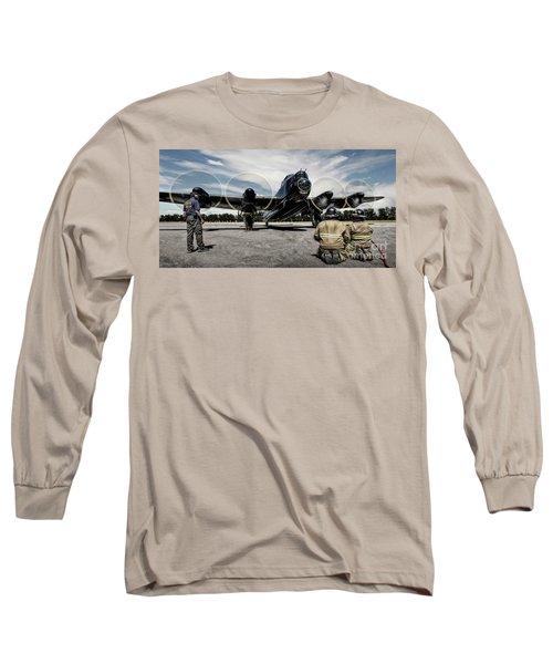 Long Sleeve T-Shirt featuring the photograph Lancaster Engine Test by Brad Allen Fine Art