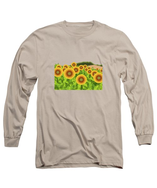 Land Of Sunflowers. Long Sleeve T-Shirt by Absentis Designs