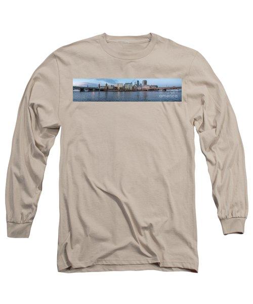 Large Panorama Of Downtown London Betwen The London Bridge And T Long Sleeve T-Shirt