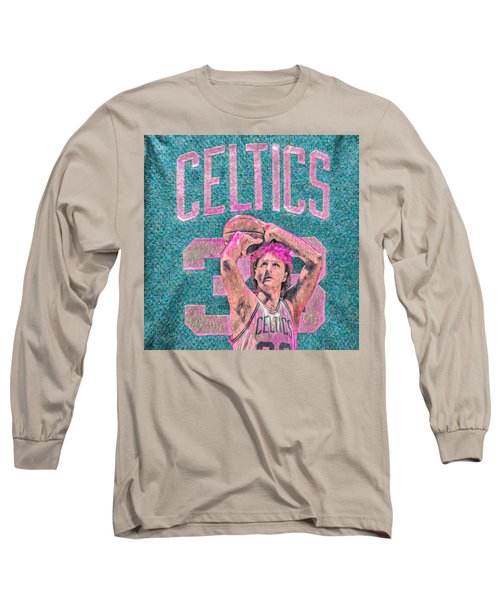 Larry Bird Boston Celtics Digital Painting Pink Long Sleeve T-Shirt