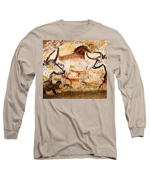Lascaux Hall Of The Bulls - Deer Between Aurochs Long Sleeve T-Shirt