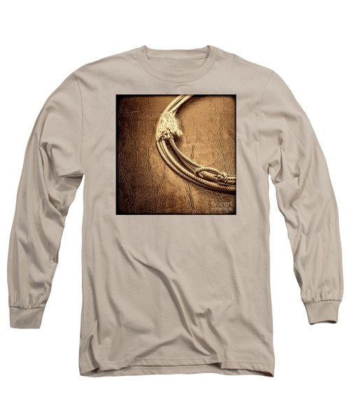 Lasso On Leather Long Sleeve T-Shirt by American West Legend By Olivier Le Queinec