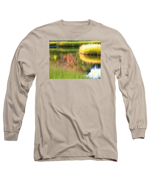 Stillness Of Late Summer Marsh  Long Sleeve T-Shirt