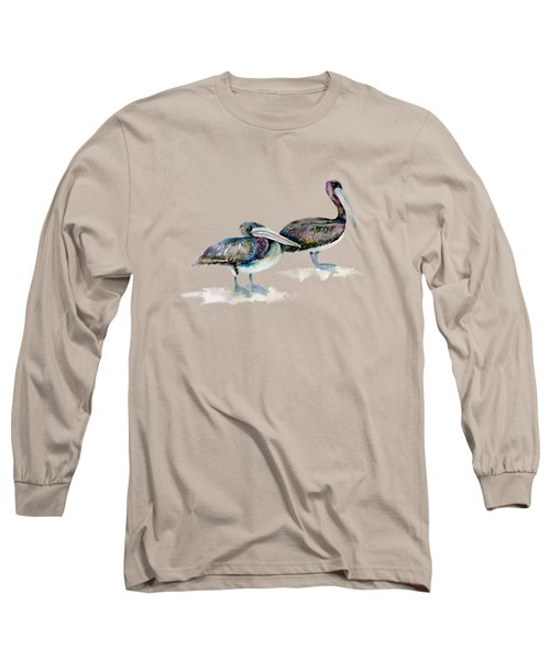 Laurel And Hardy, Brown Pelicans Long Sleeve T-Shirt by Amy Kirkpatrick