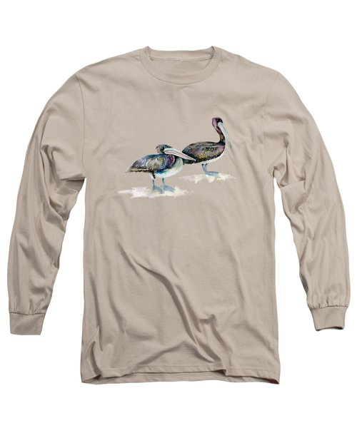 Laurel And Hardy, Brown Pelicans Long Sleeve T-Shirt
