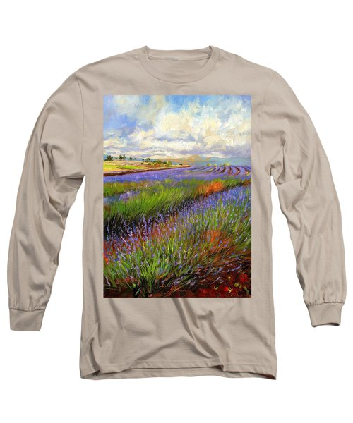 Lavender Field Long Sleeve T-Shirt by David Stribbling