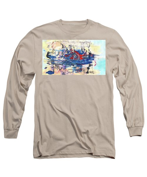 Laziness - Large Bright Pastel Abstract Art Long Sleeve T-Shirt