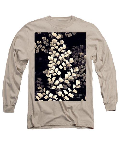 Leaf Abstract 15 Sepia Long Sleeve T-Shirt by Sarah Loft
