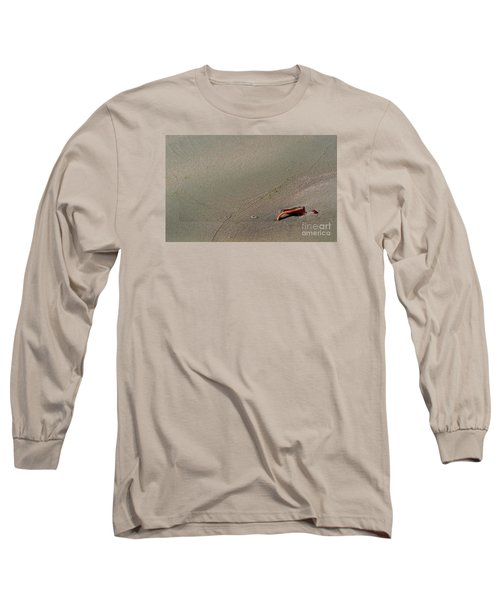 Long Sleeve T-Shirt featuring the photograph Leafe On The Beach by Gary Bridger