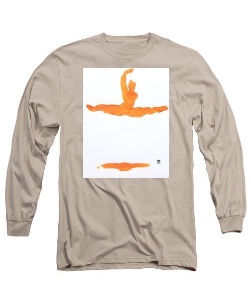 Long Sleeve T-Shirt featuring the painting Leap Brush Orange 1 by Shungaboy X