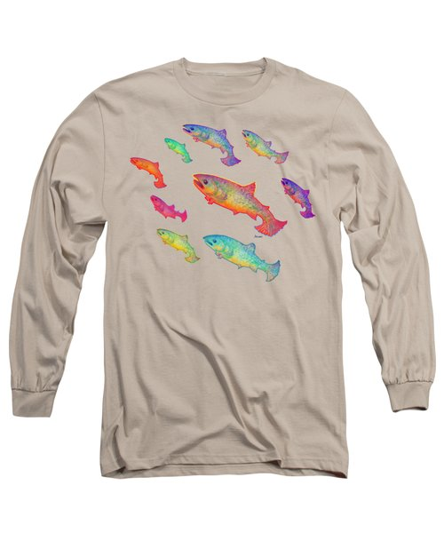 Leaping Salmon Design Long Sleeve T-Shirt by Teresa Ascone