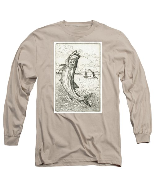 Long Sleeve T-Shirt featuring the drawing Leaping Tarpon by Charles Harden