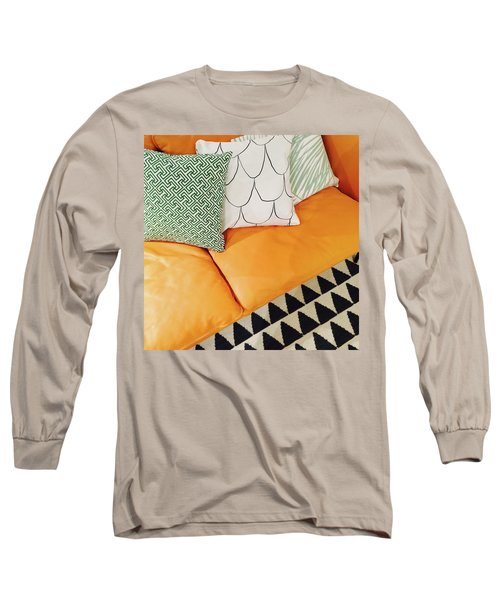 Leather Sofa With Ornamental Cushions Long Sleeve T-Shirt by GoodMood Art