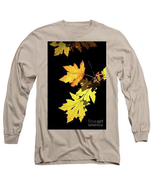 Leaves On Black Long Sleeve T-Shirt