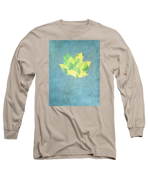 Leaves Through Maple Leaf On Texture 1 Long Sleeve T-Shirt by Gary Slawsky