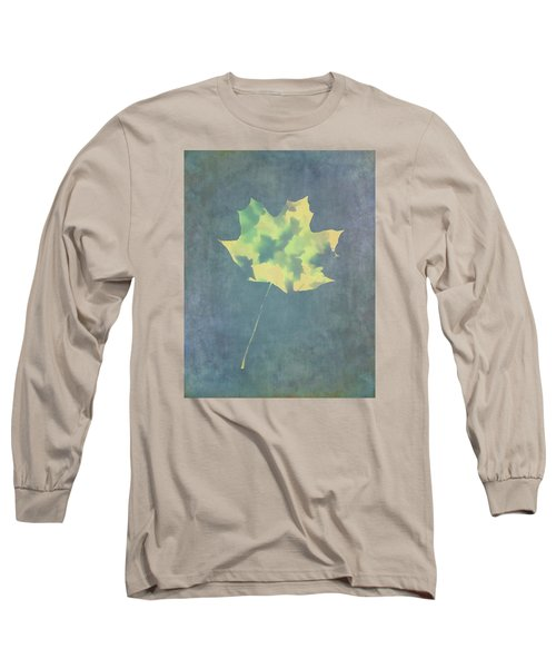 Leaves Through Maple Leaf On Texture 3 Long Sleeve T-Shirt by Gary Slawsky