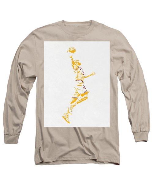 Lebron James Cleveland Cavaliers Pixel Art Long Sleeve T-Shirt by Joe Hamilton