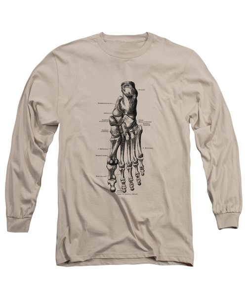 Left Foot Skeletal Diagram - Vintage Anatomy Poster Long Sleeve T-Shirt