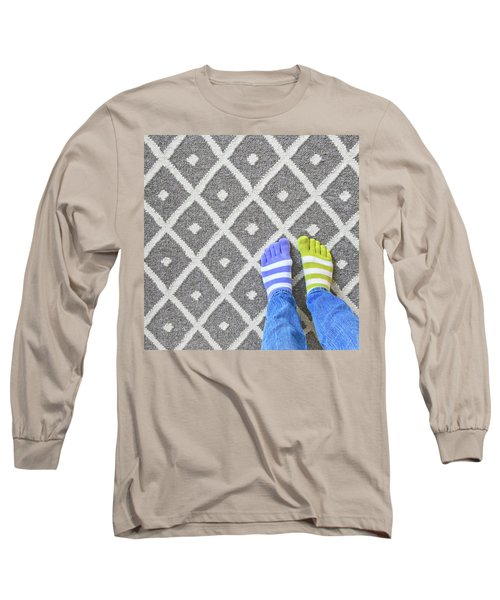Legs In Mismatched Socks On Gray Carpet Long Sleeve T-Shirt