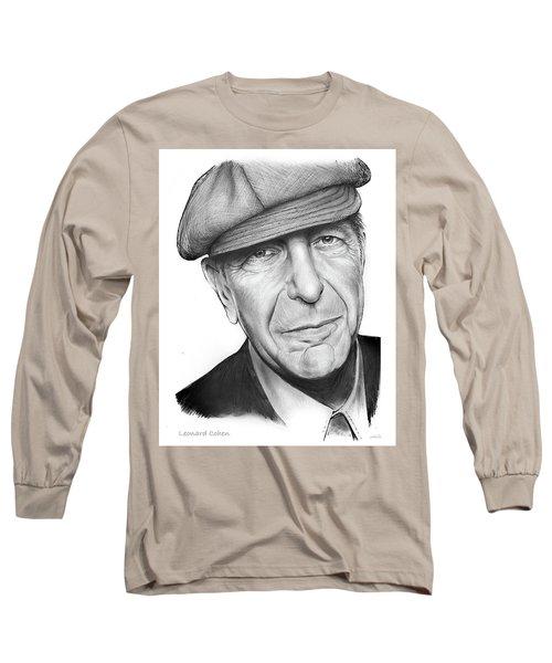 Leonard Cohen Long Sleeve T-Shirt by Greg Joens