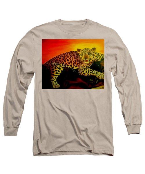 Leopard On A Tree Long Sleeve T-Shirt by Manuel Sanchez