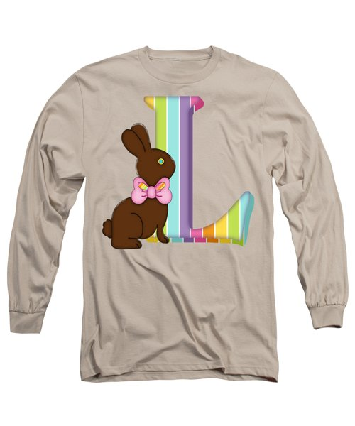 Letter L Chocolate Easter Bunny Long Sleeve T-Shirt
