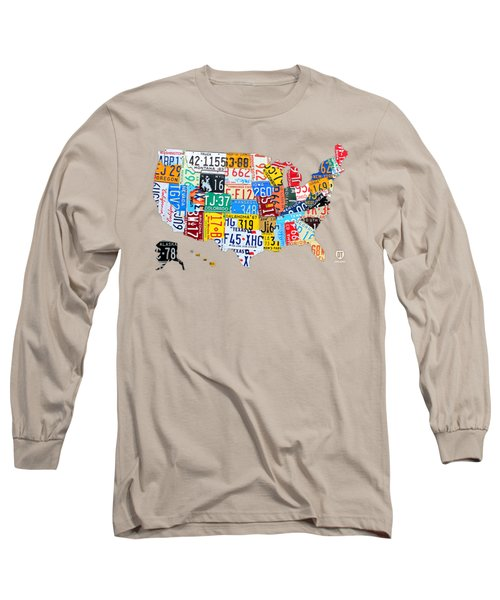 License Plate Art Map Of The United States On Yellow Board Long Sleeve T-Shirt by Design Turnpike