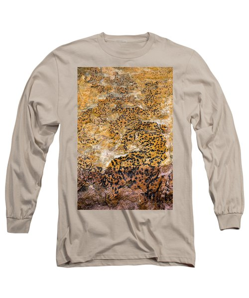 Long Sleeve T-Shirt featuring the photograph Lichen Abstract, Bhimbetka, 2016 by Hitendra SINKAR