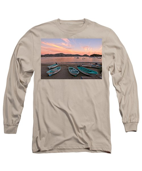 Long Sleeve T-Shirt featuring the photograph Life In A Fishing Village by Jim Walls PhotoArtist