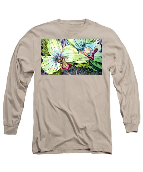 Light Of Orchids Long Sleeve T-Shirt by Mindy Newman