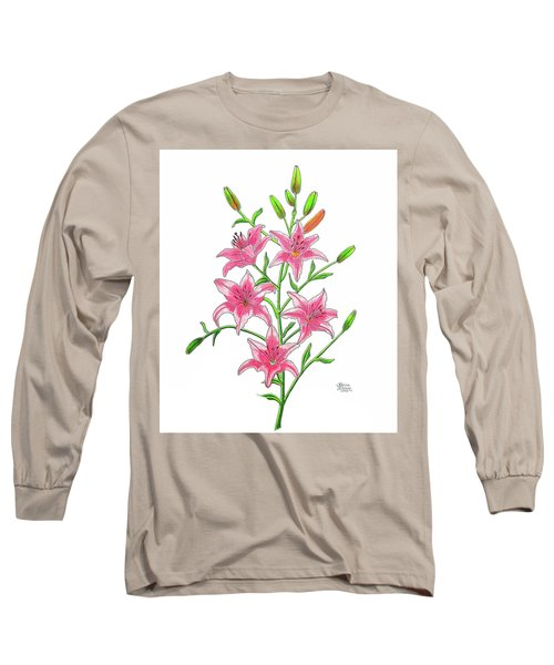 Light Pink Tiger Lily Long Sleeve T-Shirt