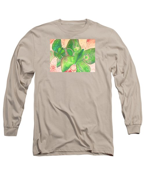 Lighthearted In Green On Red Long Sleeve T-Shirt