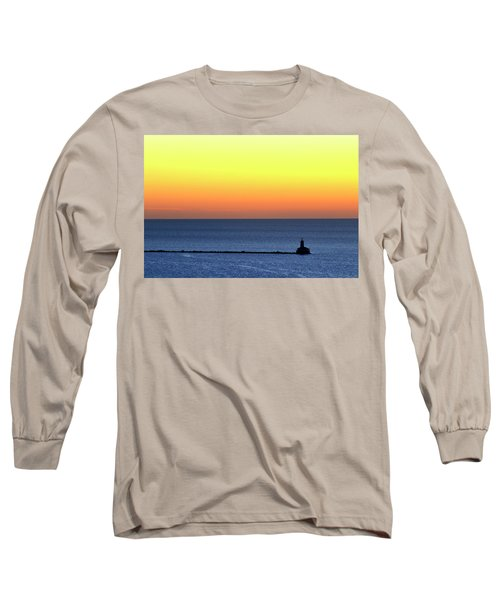 Long Sleeve T-Shirt featuring the photograph Lighthouse At Sunrise On Lake Michigan by Zawhaus Photography