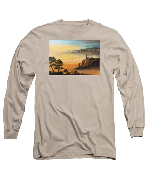 Lighthouse At Sunset Long Sleeve T-Shirt by Remegio Onia