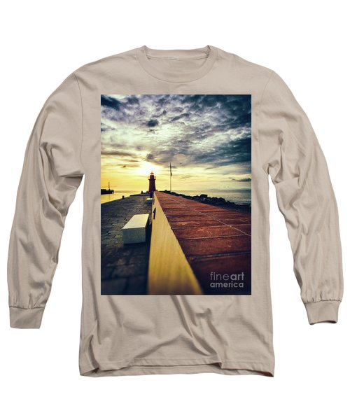 Long Sleeve T-Shirt featuring the photograph Lighthouse At Sunset by Silvia Ganora