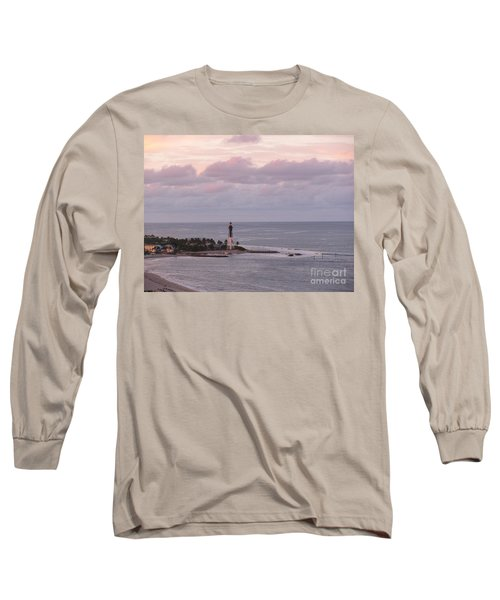 Lighthouse Sunset Peach And Lavender Long Sleeve T-Shirt