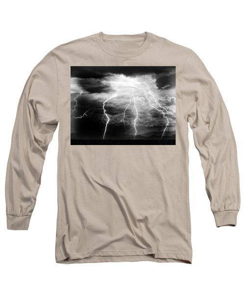 Lightning Storm Over The Plains Long Sleeve T-Shirt by Joseph Frank Baraba