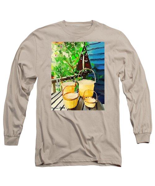 Lightship Baskets And Old Sailboat Windvane Long Sleeve T-Shirt by Melissa Abbott
