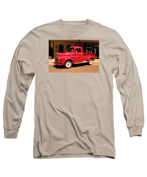 Long Sleeve T-Shirt featuring the photograph Lil Red Truck On A Dusty Street by Spyder Webb
