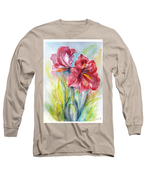 Lily Red Long Sleeve T-Shirt by Jasna Dragun