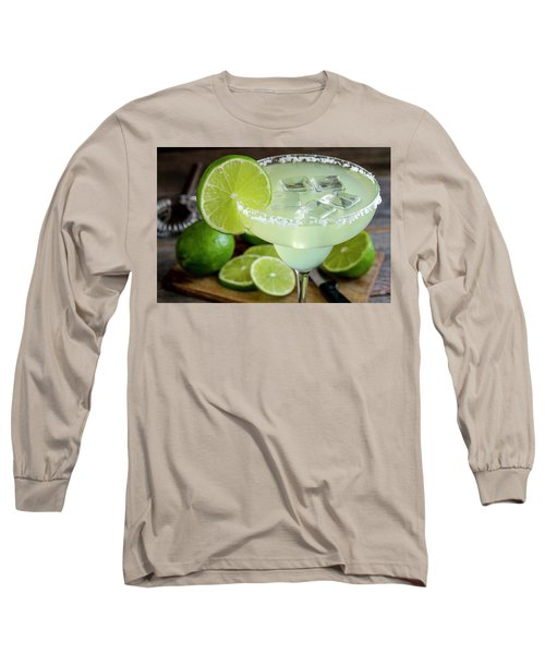Long Sleeve T-Shirt featuring the photograph Lime Margarita Drink by Teri Virbickis