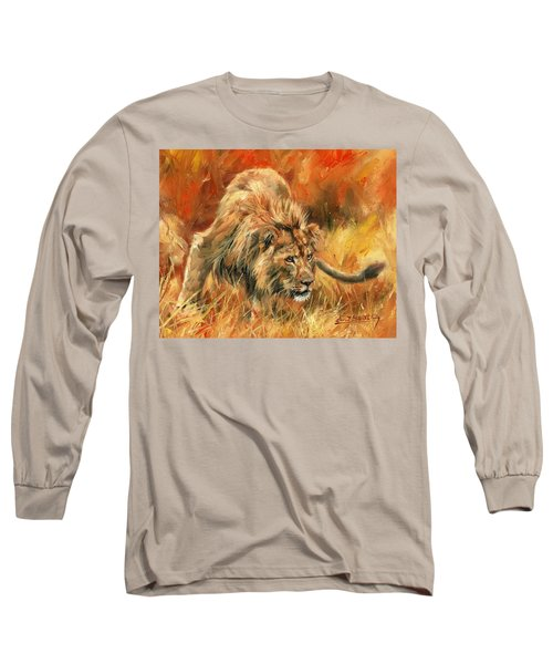 Long Sleeve T-Shirt featuring the painting Lion Alert by David Stribbling