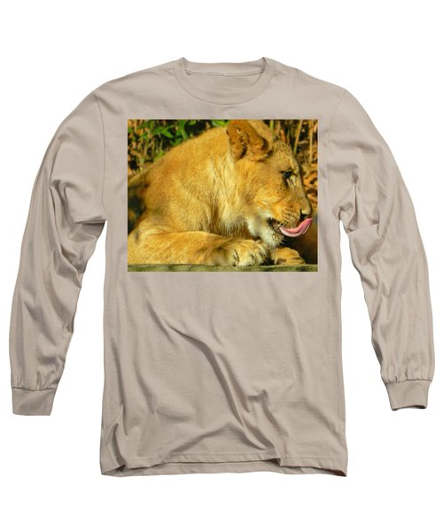 Lion Cub - What A Yummy Snack Long Sleeve T-Shirt by Emmy Marie Vickers