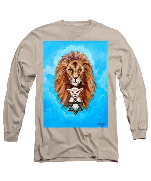 Long Sleeve T-Shirt featuring the painting Lion Lies Down With A Lamb by Bob and Nadine Johnston