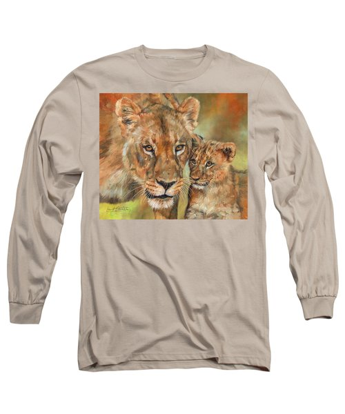 Long Sleeve T-Shirt featuring the painting Lioness And Cub by David Stribbling